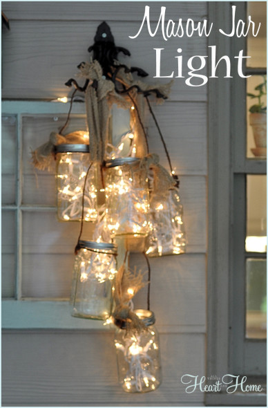 Mason-Jar-Light-handelier- for front porch from all things heart and home
