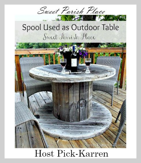 Spool Used as Outdoor Table