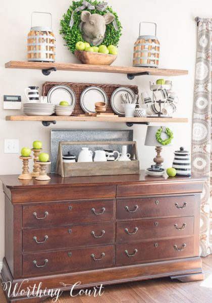 Late Summer Open Farmhouse Kitchen Shelves-Worthington Court