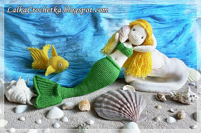 Mermaid Crocheted Doll-Doll Crochetka