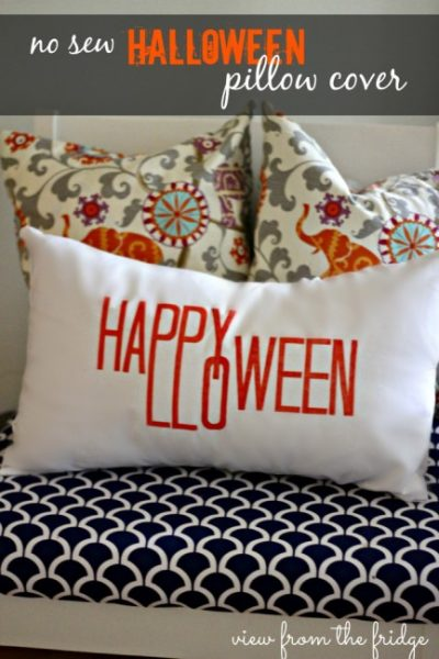 No Sew Happy Halloween Pillow Cover-Oh My Creative