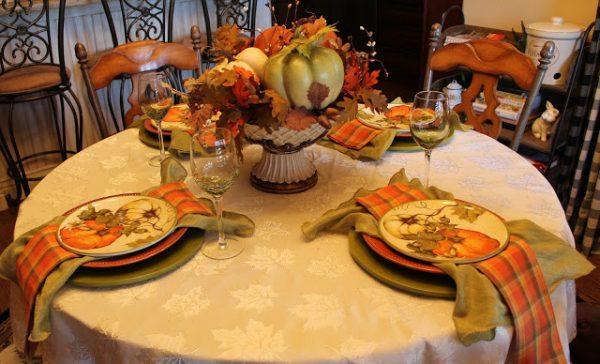 Pumpkins and Plaid Tablescape-Southern Seazons