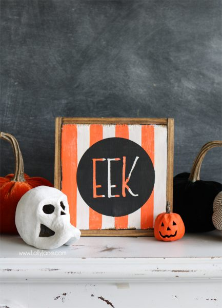 Easy DIY Halloween EEK Sign// Lolly Jane