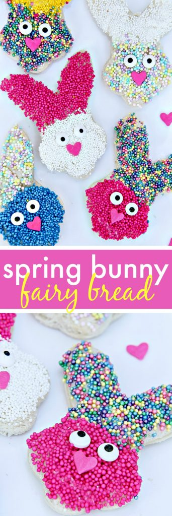 How-to-make-spring-bunny-fairy-bread-treats-for-kids How cute these are- Made with bread and cookies cutters